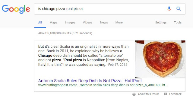 "Google results for ""is chicago pizza real pizza"" (5,180,000 results) But it's clear Scalia is an originalist in more ways than one. Back in 2011, he explained why he believes a Chicago deep dish should be called ""a tomato pie"" and not pizza. ""Real pizza is Neapolitan [from Naples, Italy] It is thin,"" he was quoted as saying."