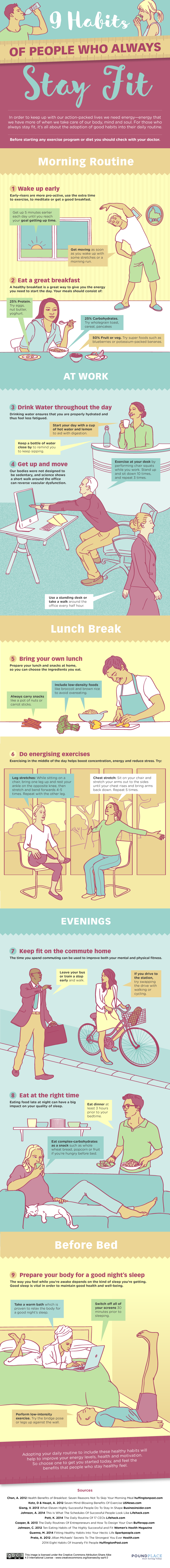 9 Habits Of People Who Always Stay Fit - #infographic
