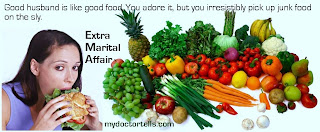 image extra marital affair are similar to eating junk food irrestible and harmful