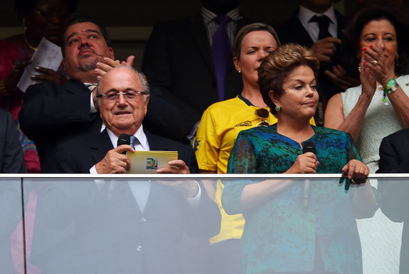 FIFA president Sepp Blatter is seen with Brazil president Dilma Rousseff at Confederations Cup
