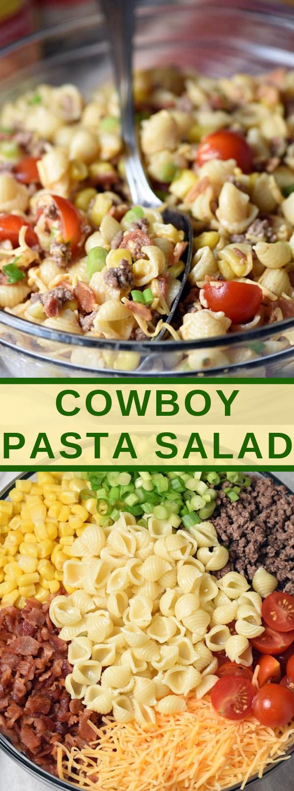 COWBOY PASTA SALAD #vegetarian #easysalads
