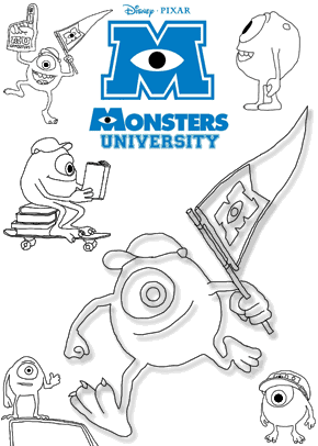 monsters university mike coloring pages - photo#15