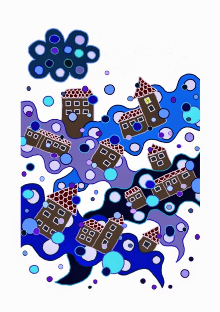 Illusztráció gyerekvershez, egy hótakaróval fedett, mesés, éjszakai város, felette felhő havat szitál csendben, kék, lila hópelyhekkel szél játszik.