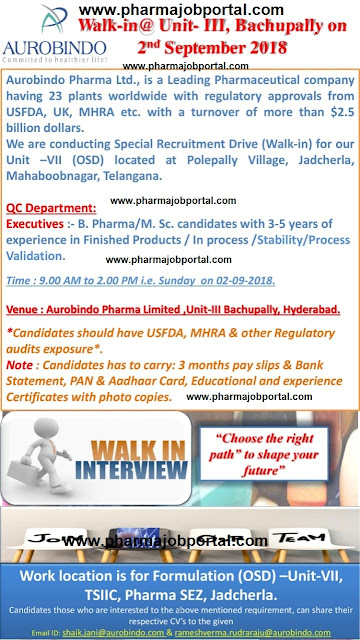 Aurobindo Pharma Ltd  Walk In Interview For Quality Control Department at 2  September