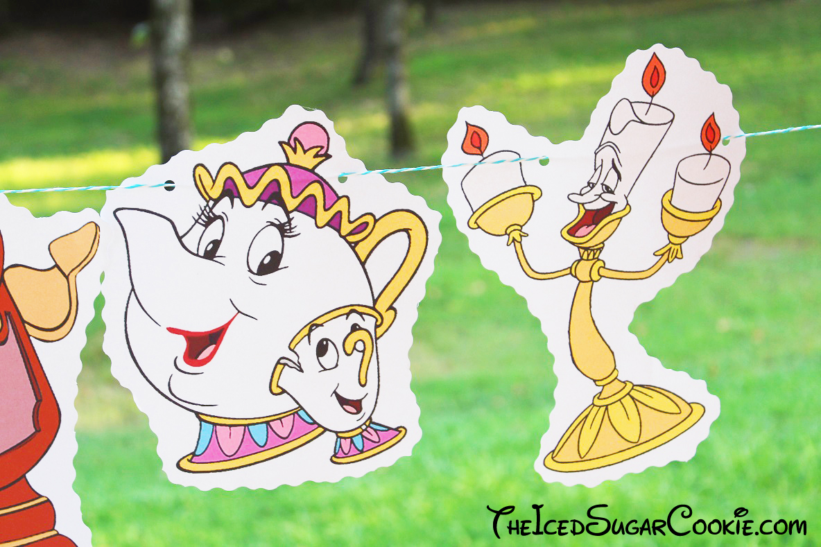 Beauty And Beast Birthday Party Banner DIY Ideas Belle Cogsworth Clock