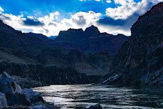 stark grand canyon sun set rafting colorado, rafts blue