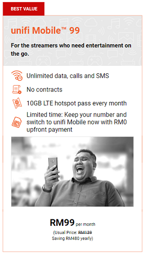 Unifi Mobile RM99 (unlimited) - No Contract