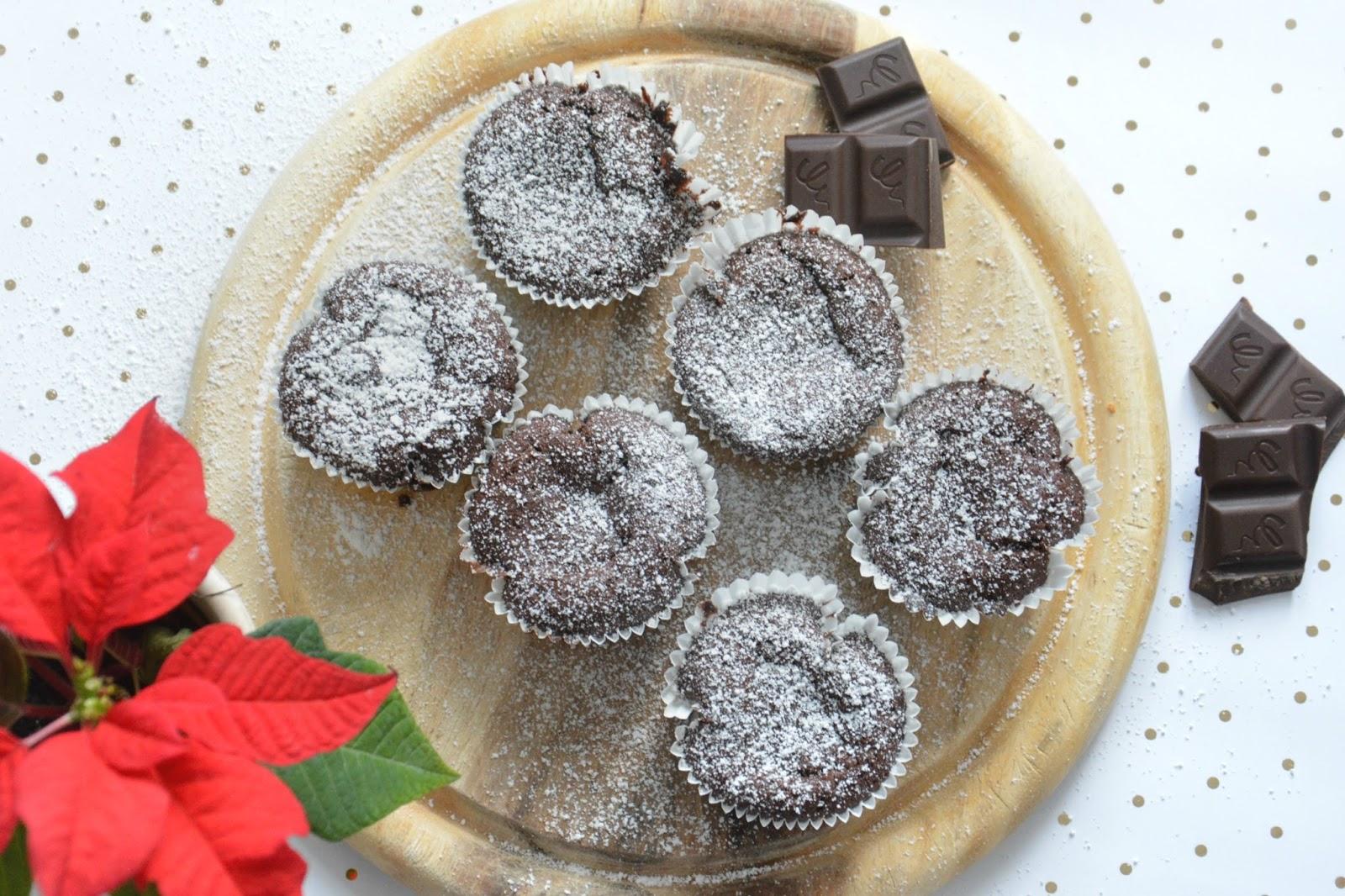 Vegan Chocolate Muffins With Hazelnut Cream Filling on Wood Platter; Christmas Star; Dark Chocolate