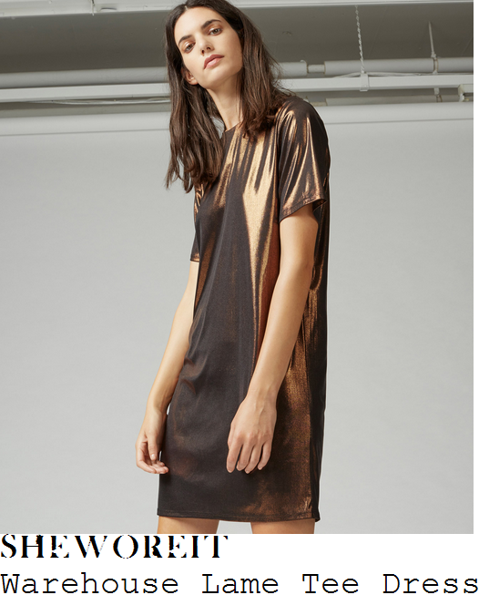 vicky-pattison-warehouse-bronze-brown-short-sleeve-v-back-relaxed-fit-high-shine-lame-t-shirt-dress