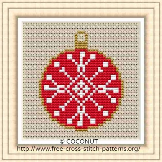 Free Printable Christmas Ornament Cross Stitch Patterns.Mini Christmas Ornament 6 Free And Easy Printable Cross