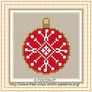 Mini Christmas Ornament 6, Free and easy printable cross stitch pattern