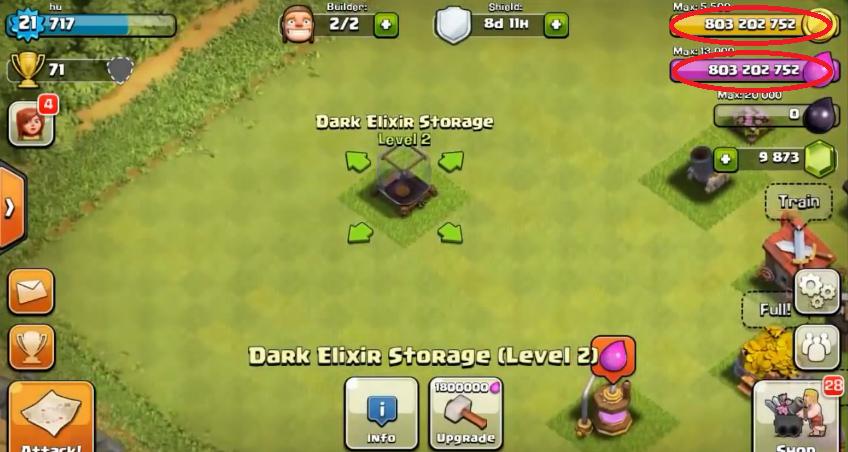 clash of clans hack result