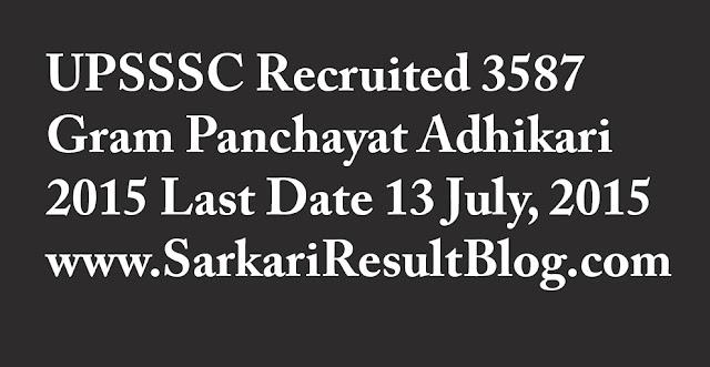 UPSSSC Recruitement Gram Panchayat Adhikari 2015