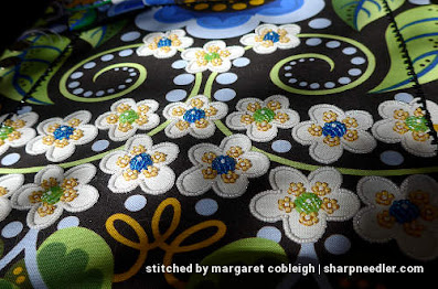 Most of the white beaded flowers completed. (Wild Child Japanese Bead Embroidery by Mary Alice Sinton)