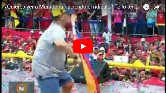 Maradona apareció en plena merienda marginal de Maduro bailando como jinetera