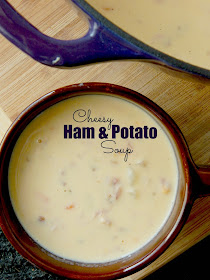 Cheesy Ham & Potato Soup...a warm, hearty bowl of comfort food!  Loaded with ham, potatoes, carrots and of course CHEESE! (sweetandsavoryfood.com)
