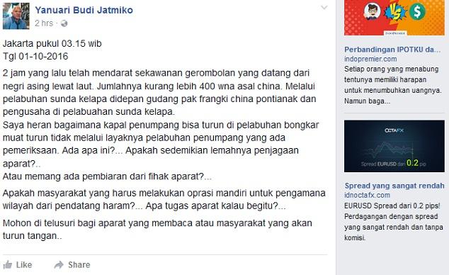 Ada WNA ( China ) Masuk Lewat Pelabuhan Sunda Kelapa 400 Orang Langsung Heboh Dan Menjadi Viral Di Facebook