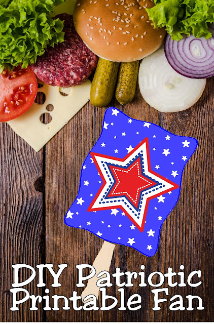 Stay cool and in the patriotic spirit with these printable patriotic fans.  They are so easy, you'll be making a bunch before the holiday and enjoying the breeze during the 4th of July activities.
