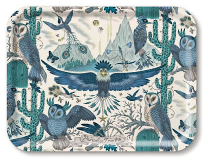 rectangular tray with complex design featuring a lot of owls