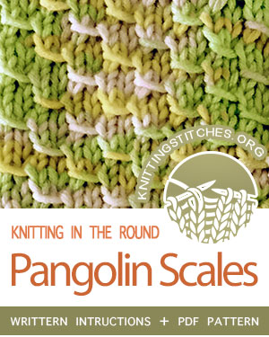 Circular Knitting - Pangolin Scales stitch pattern. Techniques Used: Working in the round, knitting, purling and yarn over. Easy!  #knittingintheround