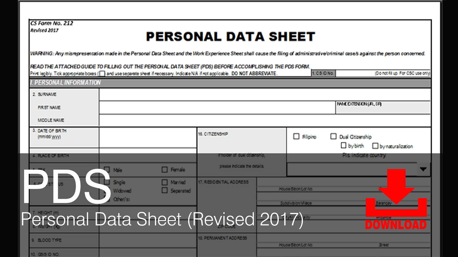 Civil Service Exam Ph Downloads Pds Personal Data Sheet Csc Form 212 Revised