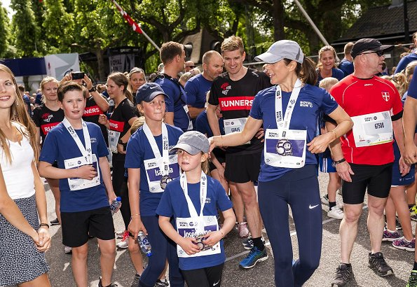 Crown Princess Mary with her children Prince Christian, Princess Isabella, Prince Vincent and Princess Josephine attend Royal Run in Copenhagen