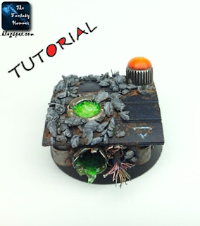 tutorial for making a realistic urban base for Warhammer 40k with bubbling toxic / acid effect