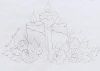 risco de velas de natal com rosas e margaridas