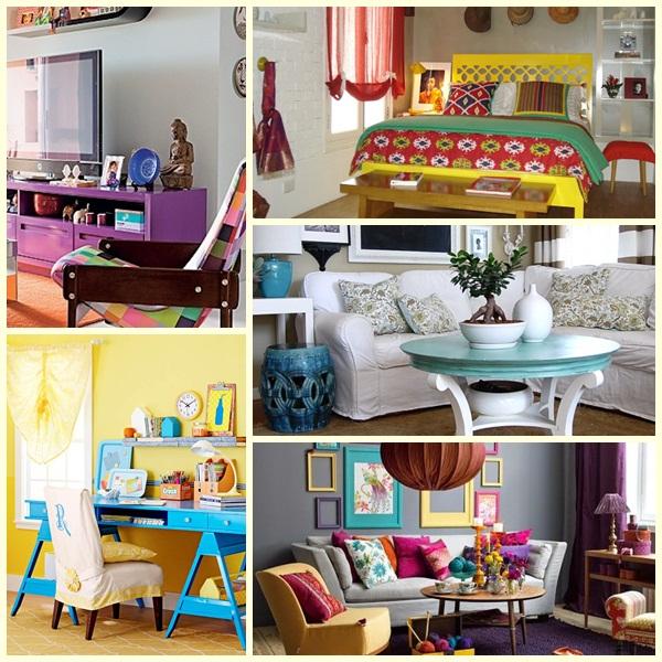 decoração com móveis coloridos
