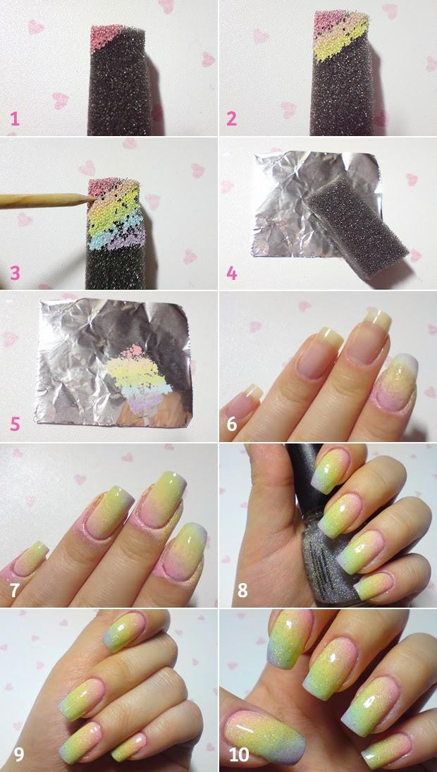 unhas de arco-iris