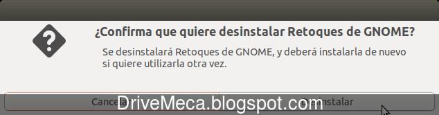 Confirmamos querer eliminar Retoques de GNOME