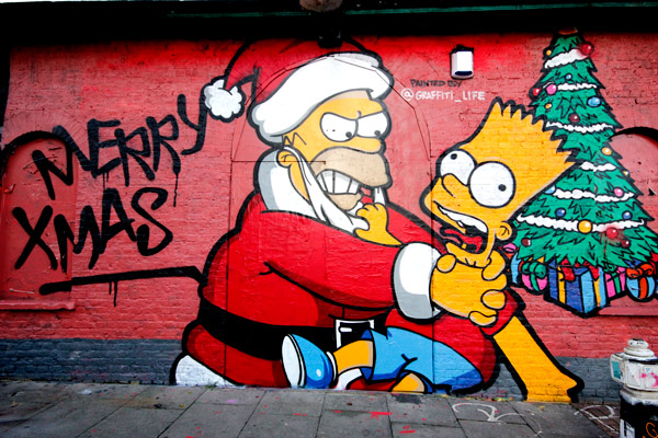 Das Mural des Tages - word on the street - Santa Homer würgt Bart ( 1 Pics - 1 Video )