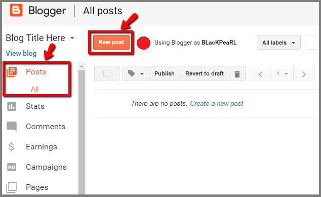 Create a post on free Blog
