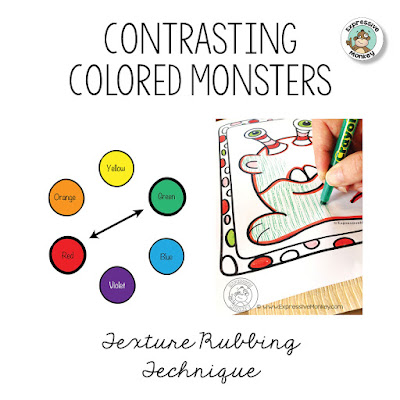 Contrasting Colored Monsters - Use monsters and texture rubbings to teach about contrasting colors. Color Complements - Color Art Lesson Idea -