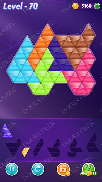 Block! Triangle Puzzle Intermediate Level 70 Solution, Cheats, Walkthrough for Android, iPhone, iPad and iPod