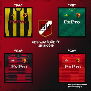 PES 6 Kits Watford FC Season 2018/2019 by Brayan Kitmaker
