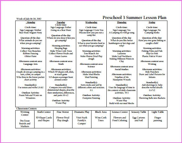 Free Preschool Lesson Plan Template – Curriculum Planning Template