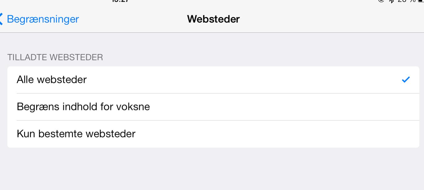 Begrænset adgang til hjemmesider i iOS7