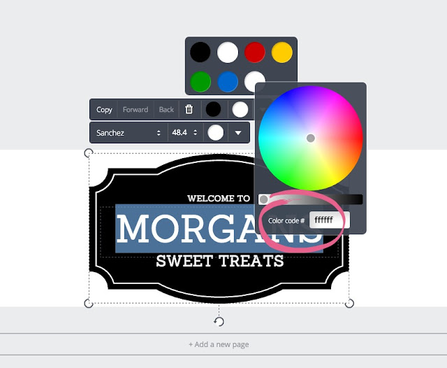 Customisation Tips For A Blogger Blog - Creating a Header Using Canva | Morgan's Milieu: Type in your colour code, or pick a colour from the pallet.