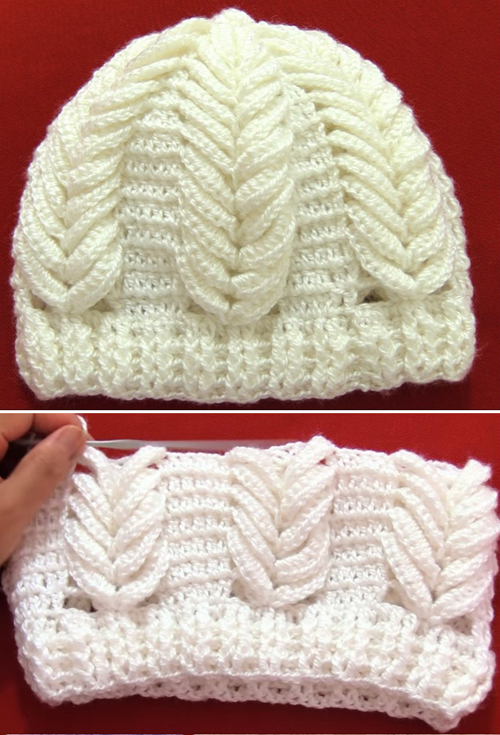 Crochet Hat with Spikes of Wheat - Tutorial
