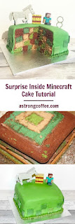 Easy to make minecraft cake with a surprise inside block centre