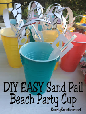 Easily and quickly make cute sand pail bucket cups for your beach party.  Using these free printables and DIY directions, you and your beach party guests will be on the beach sipping your favorite drink in no time at all.