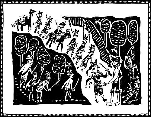 Xilogravura com estilo típico de literatura de cordel, retratando uma batalha