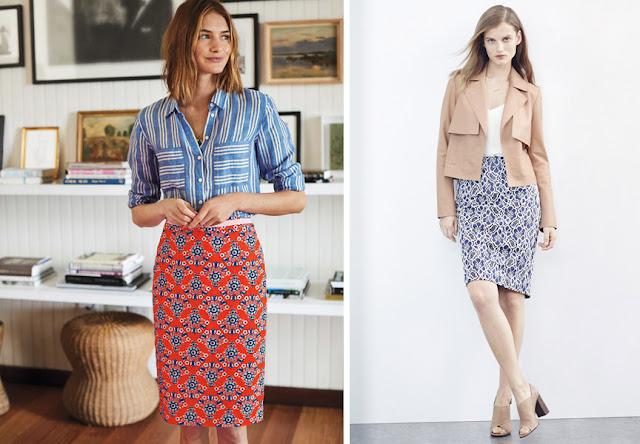 Девушки в юбках с упорядоченным цветочным принтом