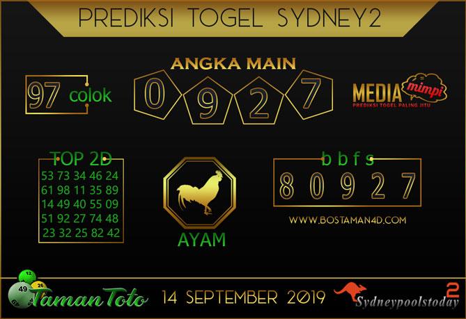 Prediksi Togel SYDNEY 2 TAMAN TOTO 14 SEPTEMBER 2019