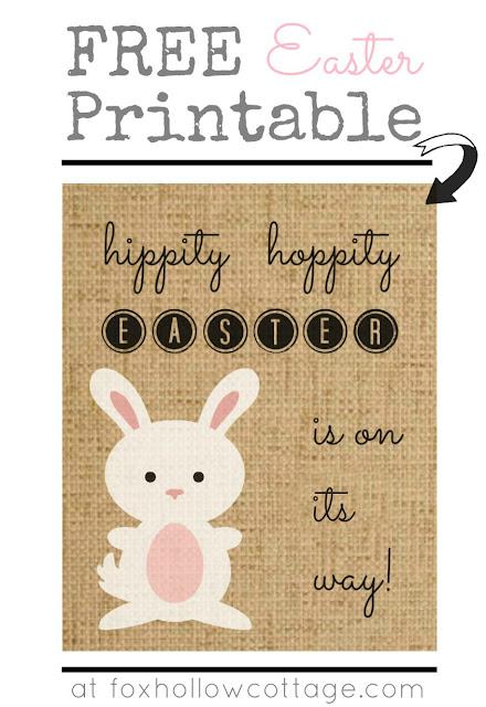 Hippity Hoppity Easter Bunny on Burlap - Free Printable foxhollowcottage
