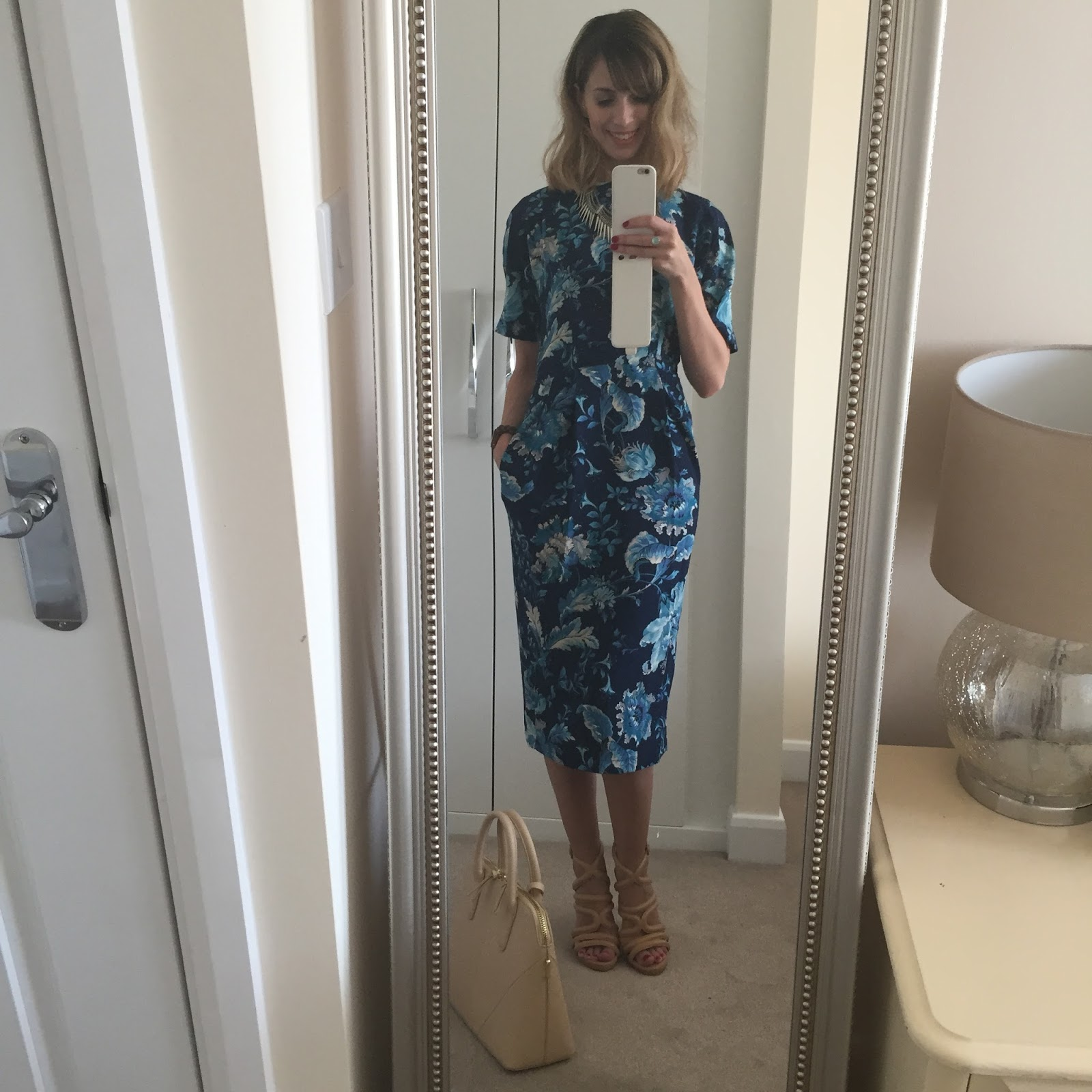 #OOTD featuring blue floral Asos wiggle dress