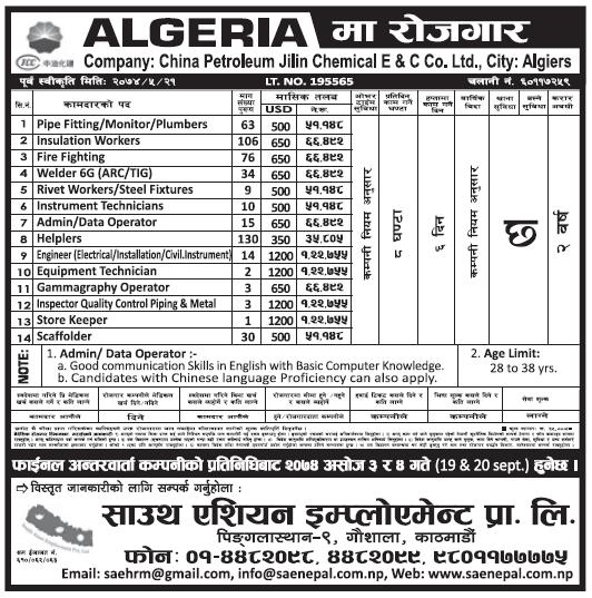 Jobs in Algeria for Nepali, Salary Rs 1,22,755