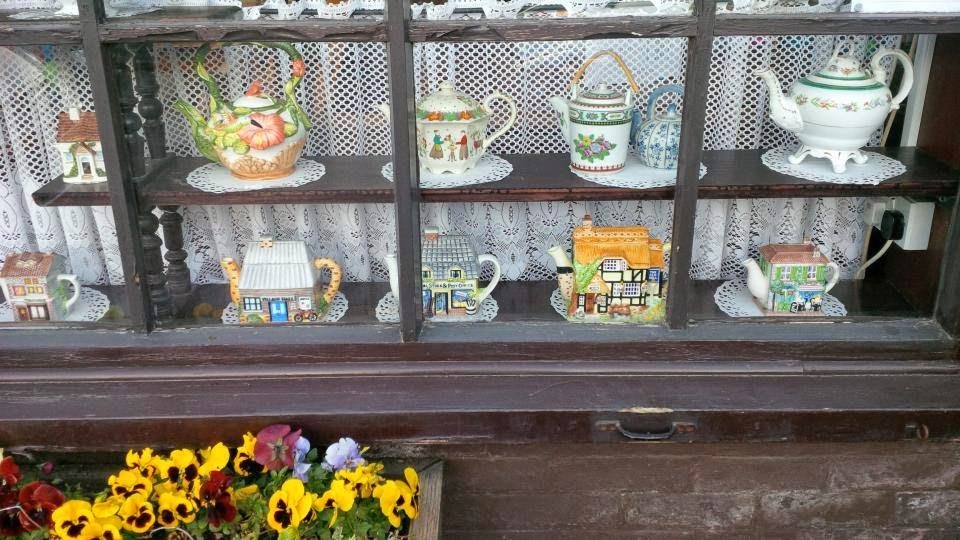 Fabulous ceramic teapots in the teahouse in Niton on the Isle of Wight