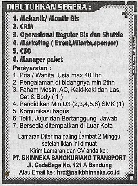 Lowongan Kerja PT. Bhinneka Sangkuriang Transport